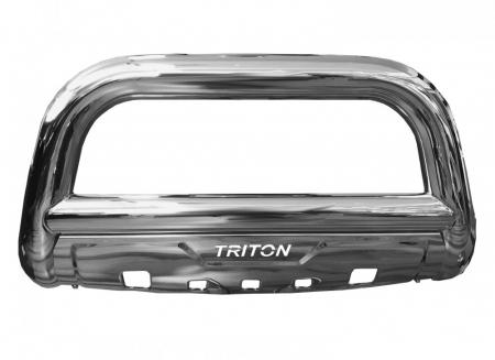 Bullbar inox cu scut Mitsubishi L200 Triton 2015, 2016, 2017, 2018, 2019 Ø90mm MTA647 [0]