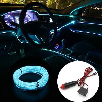 Fir neon auto electroluminiscent El Wire 2m cu lumina Ice Blue cu droser si mufa bricheta