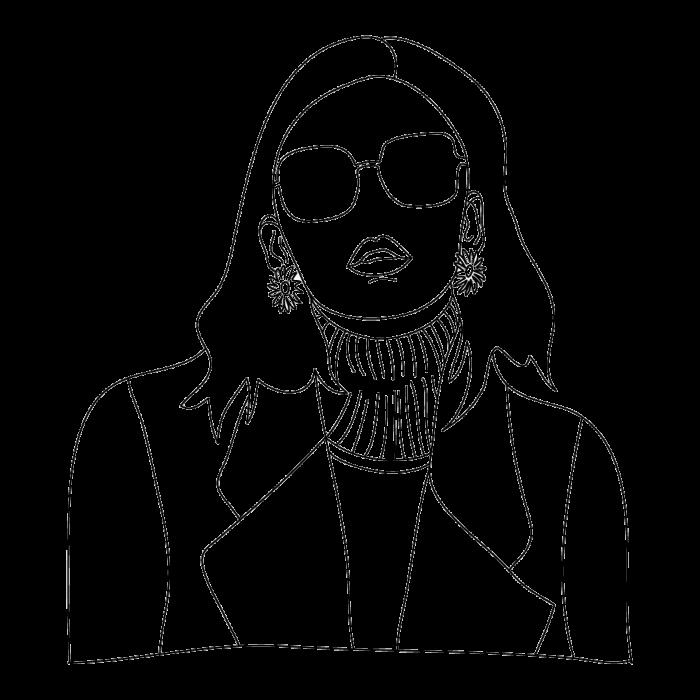Tricou Print Grafic Fata cu Ochelari [1]