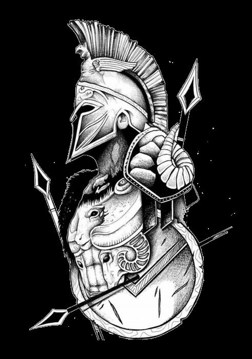 Hanorac Print Spartan Ready For Battle [1]