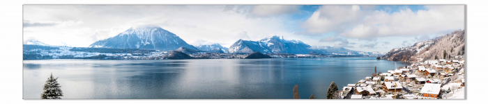 Tablou Canvas Panorama Lac, Munte Iarna [1]