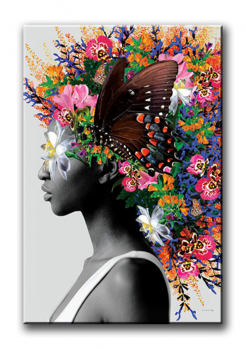 Tablou Print Canvas Femeie cu Flori [1]