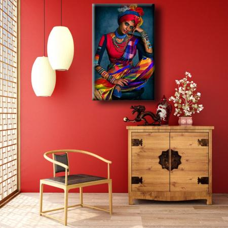 Tablou Canvas Print Femeie cu Haine Colorate [0]