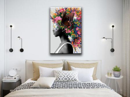 Tablou Print Canvas Femeie cu Flori [0]