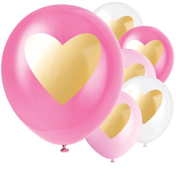 6 Baloane latex cu inima aurie (30 cm) [0]