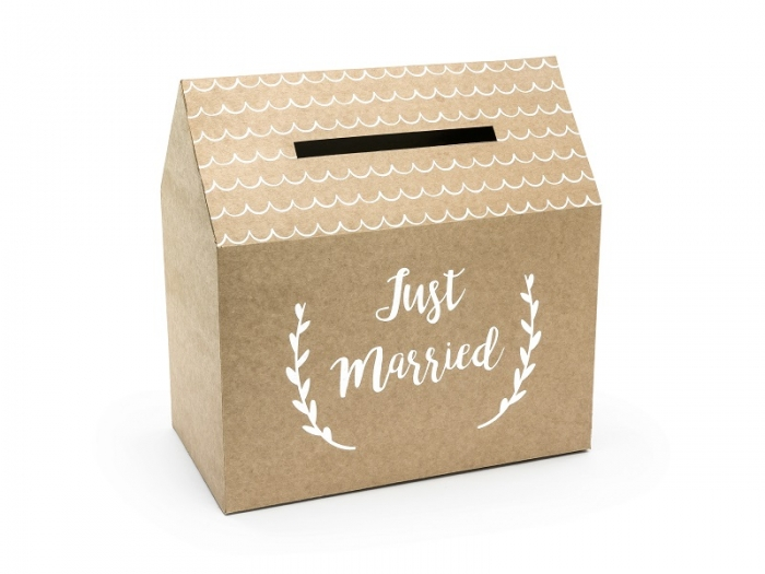 Casuta dar nunta model rustic- Just Married, kraft, 30x30.5x16.5cm 1