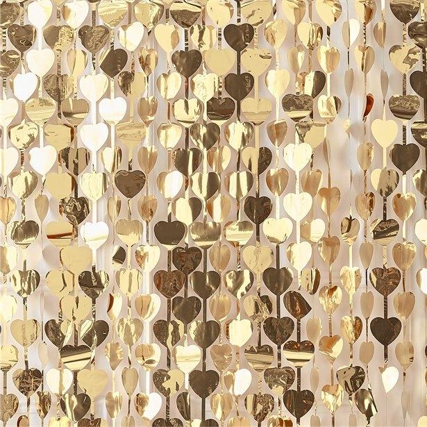 Perdea inimioare aurii - fundal fotografie 1x 2.5 m 0
