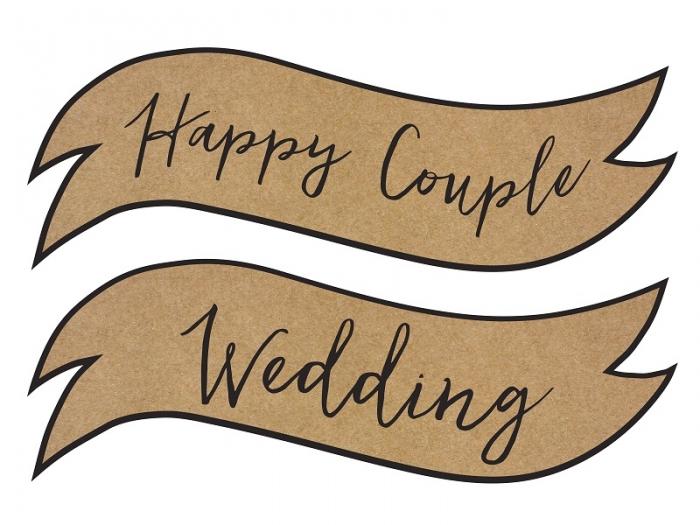 Placute inscriptionate pentru nunta, carton craft (1 pach/ 2 pc.) 6
