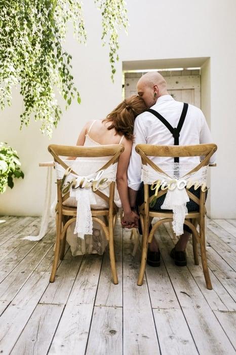 Indicatoare scaun Bride&Groom auriu 2