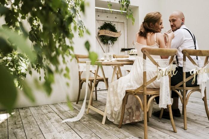 Indicatoare scaun Bride&Groom auriu 3