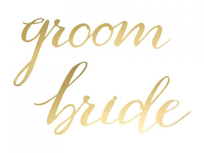 Indicatoare scaun Bride&Groom auriu 5