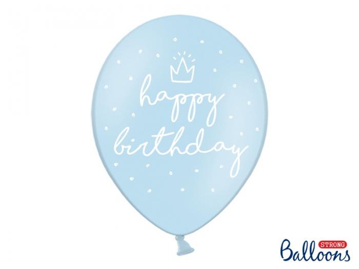 Baloane bleu 30cm, Happy Birthday 0