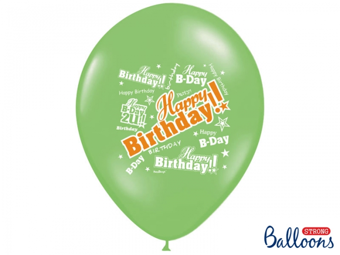 Baloane multicolore 30cm, Happy Birthday, Pastel Mix 10 buc. 3