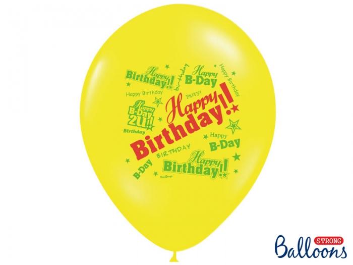 Baloane multicolore 30cm, Happy Birthday, Pastel Mix 10 buc. 7