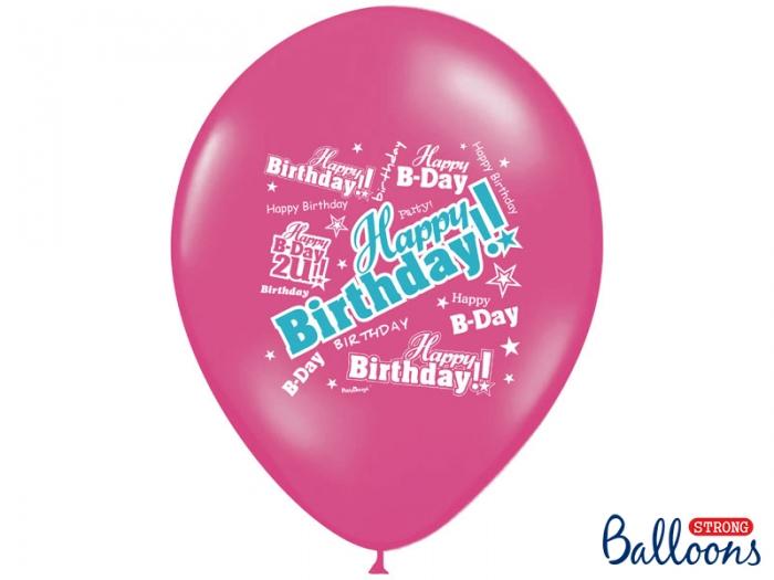 Baloane multicolore 30cm, Happy Birthday, Pastel Mix 10 buc. 6