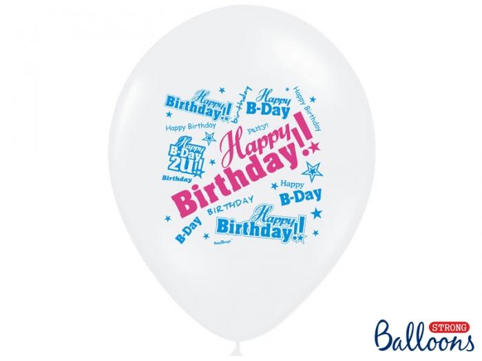 Baloane multicolore 30cm, Happy Birthday, Pastel Mix 10 buc. 1