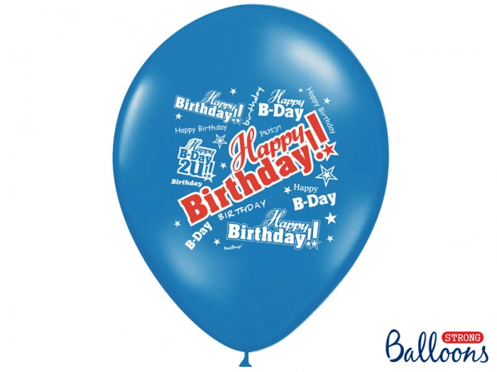 Baloane multicolore 30cm, Happy Birthday, Pastel Mix 10 buc. 4