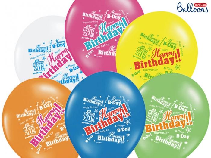Baloane multicolore 30cm, Happy Birthday, Pastel Mix 10 buc. 0