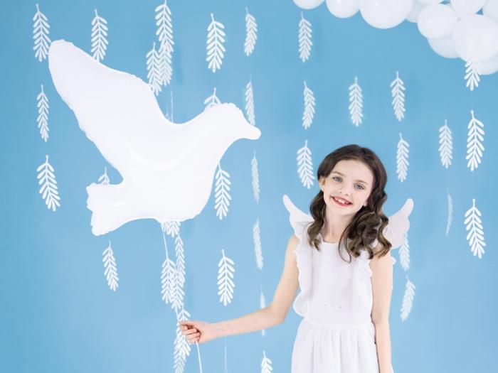 Balon din folie in forma de porumbel, alb, 77x66cm 0
