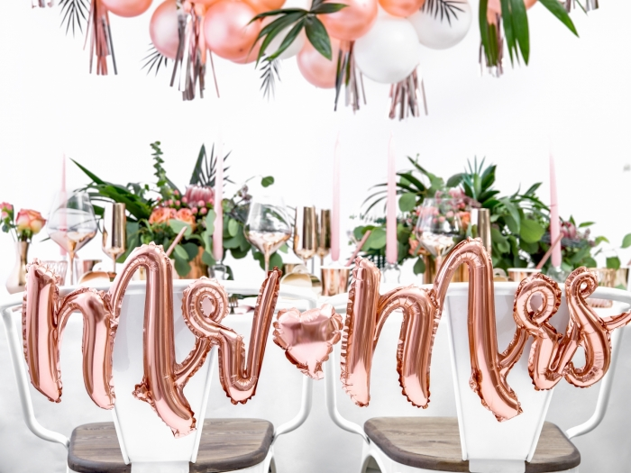Balon folie Mr & Mrs, auriu rose, 69x125cm 0