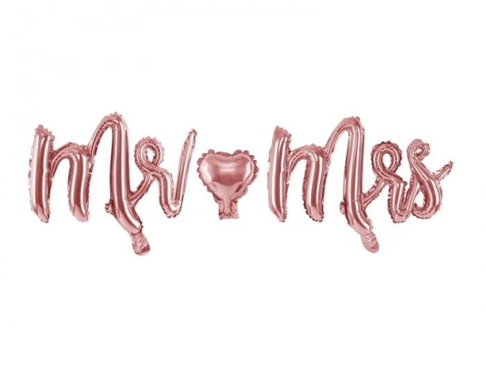 Balon folie Mr & Mrs, auriu rose, 69x125cm 1