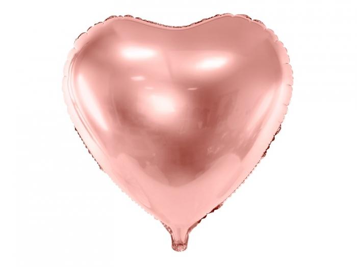 Balon folie metalica Inima roz auriu, 45cm 1