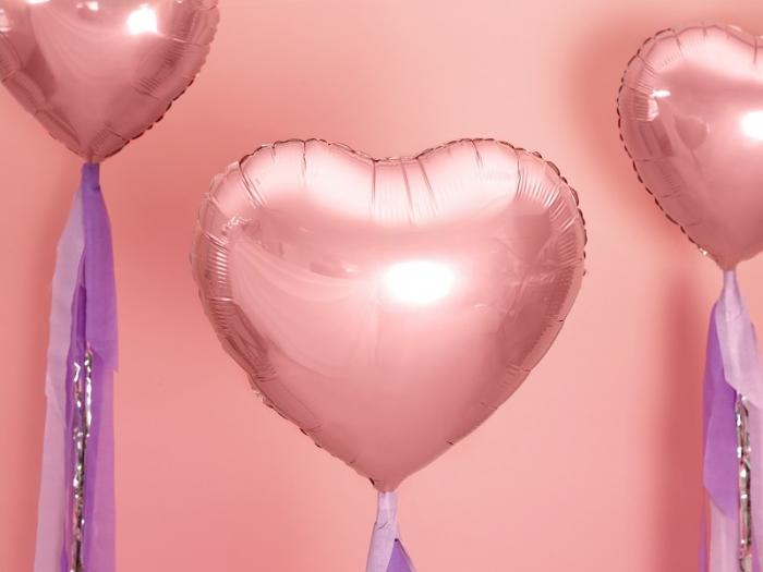 Balon folie metalica Inima roz auriu, 45cm 7
