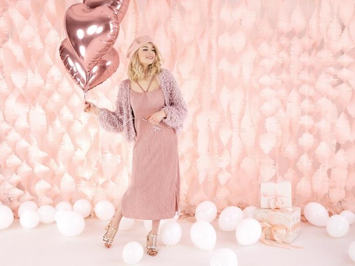 Balon folie metalica Inima roz auriu, 45cm 6