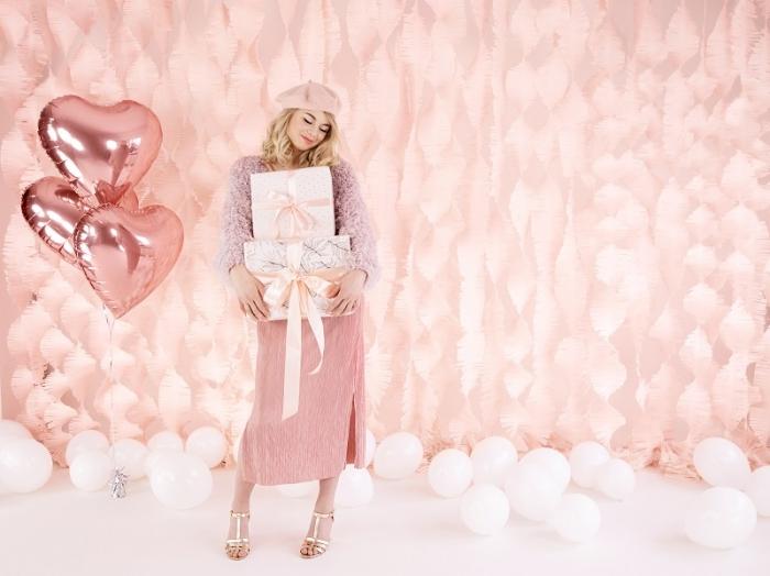 Balon folie metalica Inima roz auriu, 45cm 4