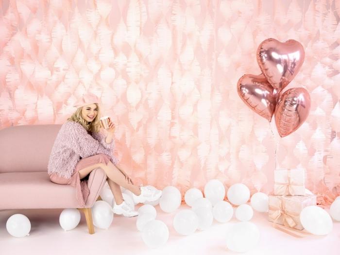 Balon folie metalica Inima roz auriu, 45cm 5
