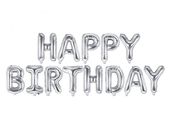 Balon Happy Birthday, 340x35cm, argintiu [1]