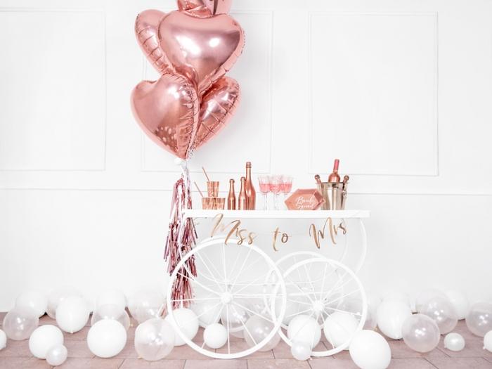 Balon folie metalica Inima roz auriu, 45cm 2