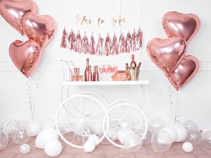 Balon folie metalica Inima roz auriu, 45cm 3