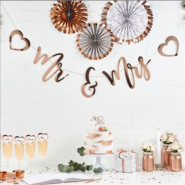 Banner litere Mr&Mrs (auriu rose) 0