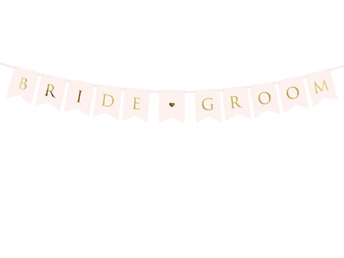 Banner Bride Groom, roz deschis, 15 x 155 cm 1