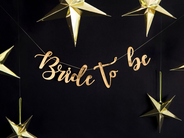 Banner Bride to be, auriu, 80x19cm 0