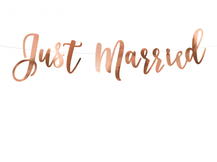 Banner Just Married din hârtie oglindă [1]