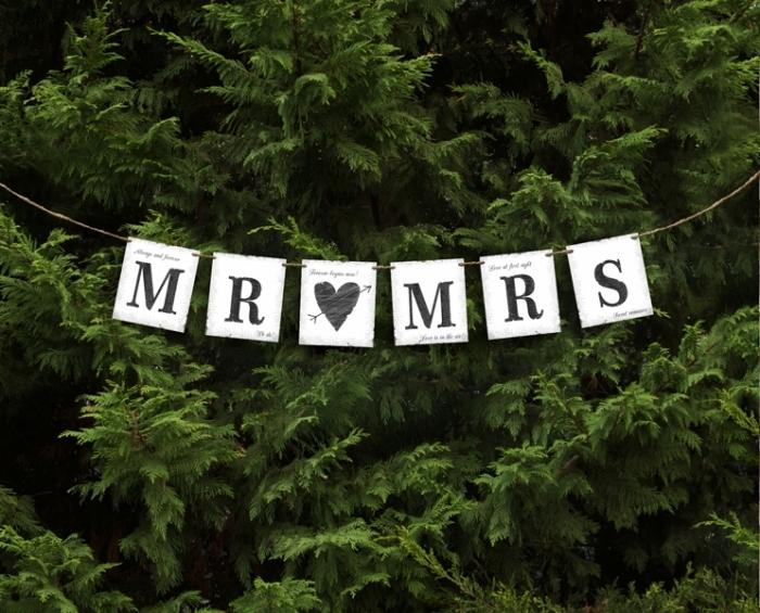 """Banner nunta Mr """"loves"""" Mrs 77 cm [0]"""