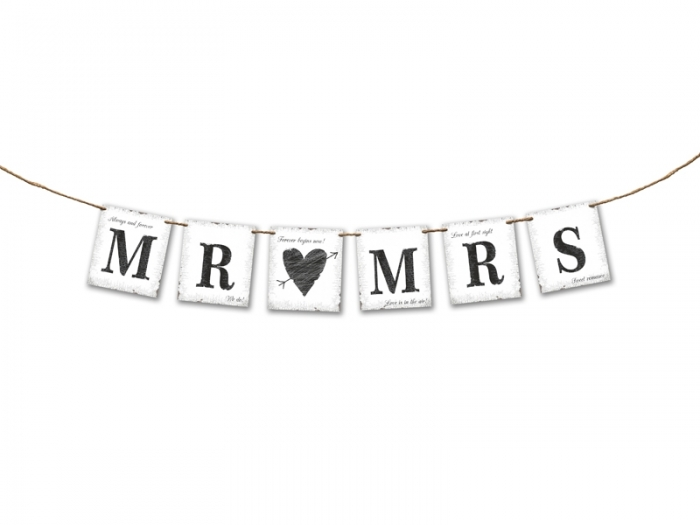 "Banner nunta Mr ""loves"" Mrs 77 cm 3"