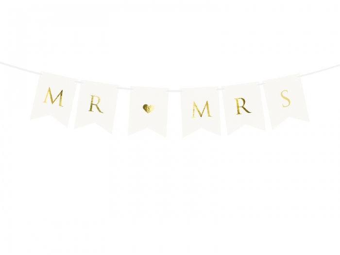 Banner Mr Mrs, alb, 15 x 85 cm 1