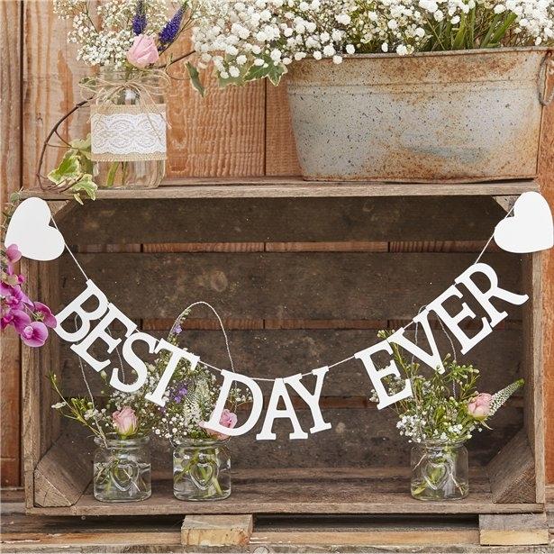 "Banner rustic ""Best day ever"" din lemn (1.5m) 0"