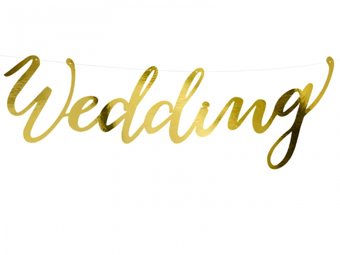 Banner Wedding, auriu, 16.5x45cm 2