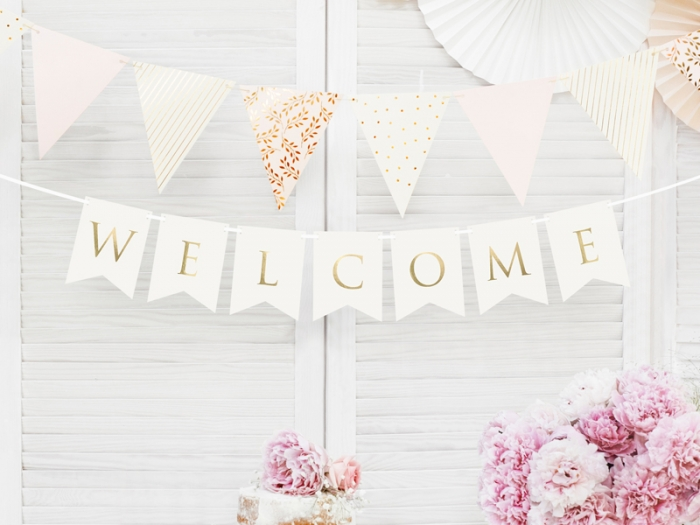 Banner Welcome (Bine ati venit), alb, 15 x 95 cm 0