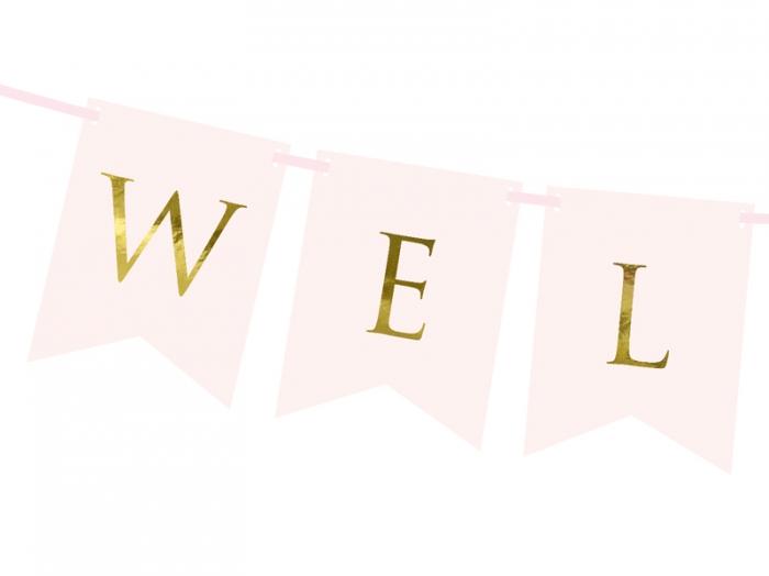 Banner Welcome (Bine ati venit!), roz deschis, 15 x 95 cm 2