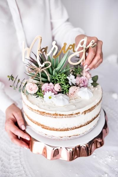 Cake topper Mariage, auriu, 22.5cm 5