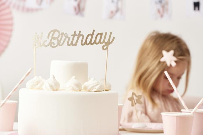 Cake topper prima aniversare, auriu 0