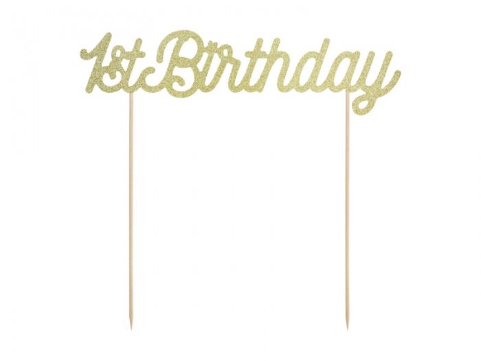 Cake topper prima aniversare, auriu 6