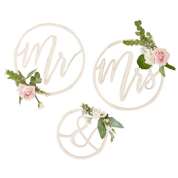 """Cercuri din lemn decor nunta """"Mr&Mrs"""" 2"""