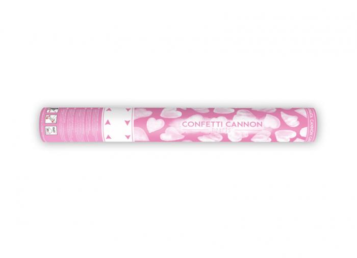 Confetti cannon inimioare albe, 40 cm 2