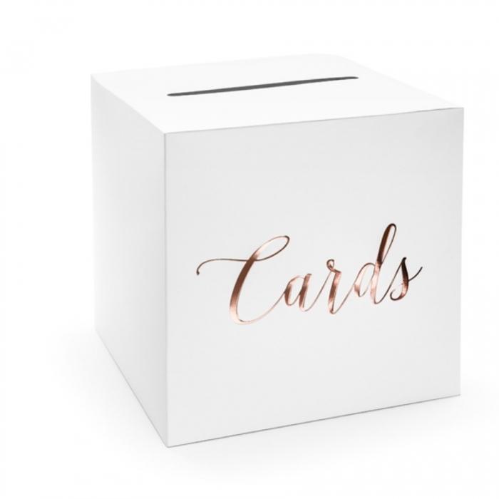 Cutie dar nunta - Cards, rose gold, 24x24x24cm 0